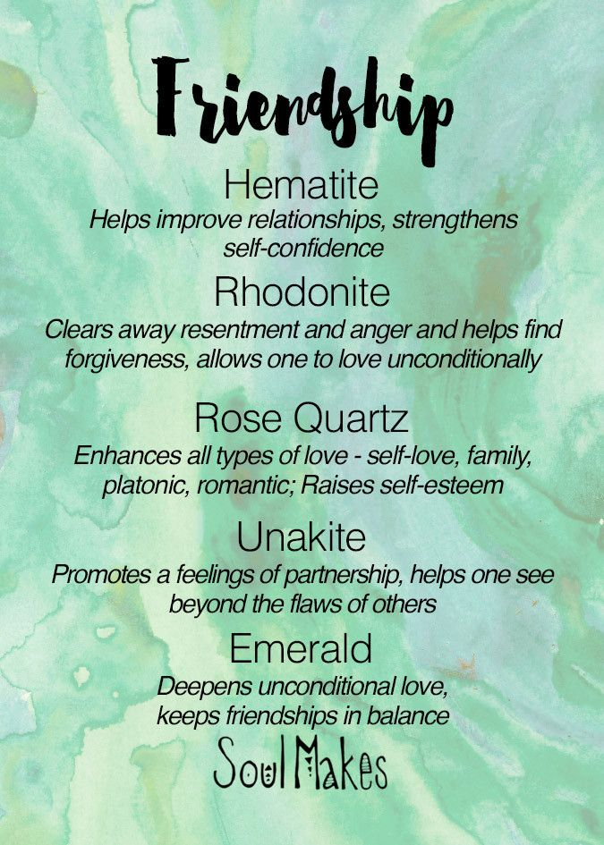 Friendship Stones meanings card - New age metaphysical healing crystals by SoulMakes
