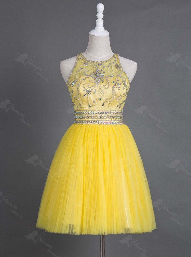 Buy Saucy Jewel Sleeveless Short Yellow Homecoming Dress with Beading Rhinestones Illusion Back 2016 Homecoming Dresses under US$ 126.99 only in SimpleDress.