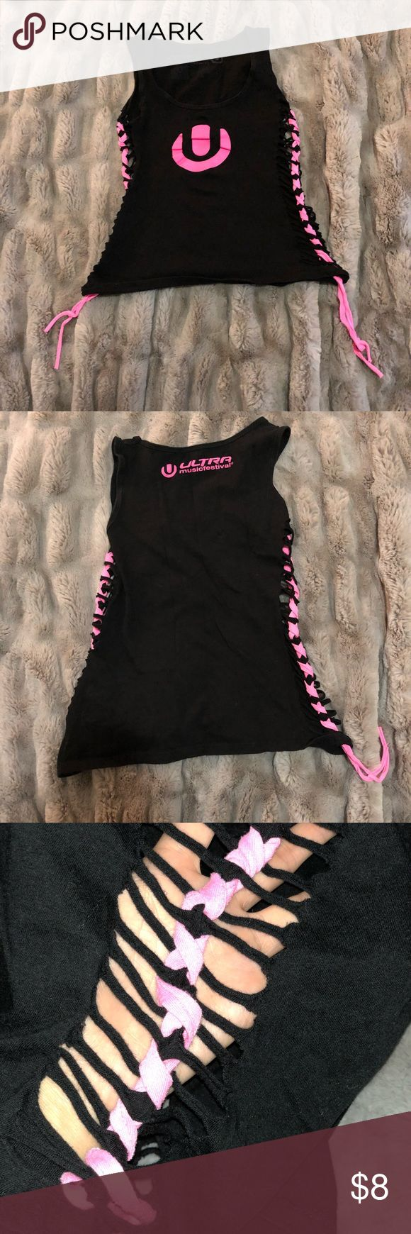 Ultra Music Festival Tank Top Official UMF merch tank top with cutouts in side (see 3rd pic). Only worn a few times, good condition. Tops Tank Tops