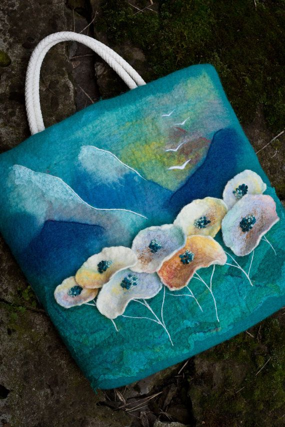 Felted Bag Handbag Purse Felt Nunofelt Fiber by Feltsongs
