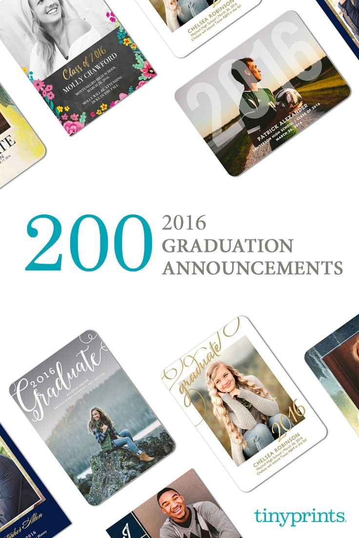Planning to celebrate graduation with a special soiree? Mark the occasion with personalized graduation party invitations from Tiny Prints. Match your invitations to your personalized graduation announcements, or customize a set around the party's theme or with a favorite photo. Find your perfect graduation announcements and party invitations with Tiny Prints today.