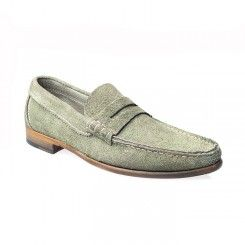 Get Ruffa Penny Loafer Grey Suede A preppy style suede leather penny loafer from Ruffa featuring a round toe with a contrasting stitched apron. Leather sole and stacked leather heel.Visit here http://www.ashtonmarks.com/mens-shoes/loafers/ruffa-penny-loafer-grey-suede