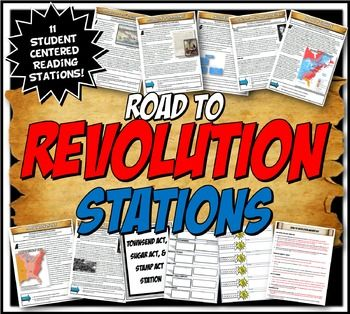 This content rich activity is student centered and interactive! This Road to Revolution activity has 11 stations with close readings detailing the events that led to the American Revolution including: the Stamp Act, Townsend Acts, Intolerable Act, the Boston Tea Party, Lexington and Concord, Tea Act, the Proclamation of 1763, Pontiac's Rebellion, the Declaration of Independence, Thomas Paine's pamphlet, the English Bill of Rights, Social classes in the colonies and the Sugar Act.This…