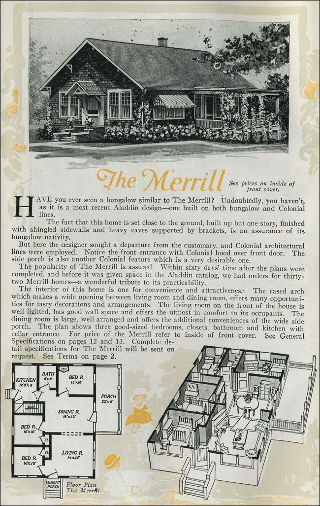 1920 cottage bungalow the merrill aladdin homes for 1920s bungalow floor plans