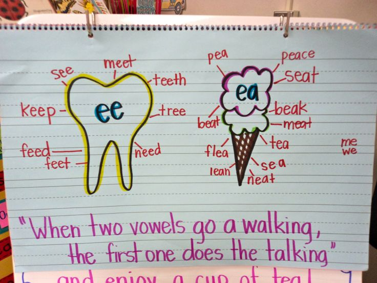 "Anchor Chart: Long E sound: ""When two vowels go a walking, the first one does the talking"""