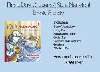 A great way to start the new year. Reading First Day Jitters/ Que Nervios. It is a book about the struggle and nervousness a person feels on the 1st day of school. Cute book. This packet includes various activities to do all week as you welcome your new class.