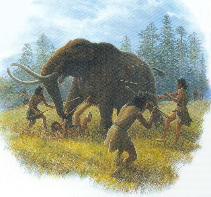Artist's depiction of Clovis people hunting a Mastodon around 11,000 years ago by