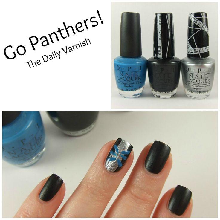 Nail Art: Carolina Panthers