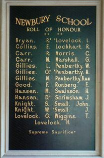 Newbury School Roll of Honour - Historypin | Walking with an Anzac