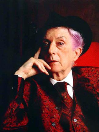 Quentin Crisp.  This old girl was out and proud long before the rest of us could concieve of that possibility.  Love him.
