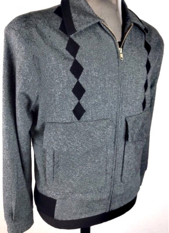 Vintage 1950s Rockabilly VLV Grey & Black Faint Speck/Argyle Ritchie Jacket-Med