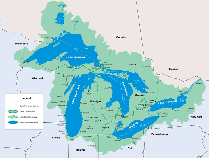 Best Map Images On Pinterest Vintage Maps Michigan And - United states map 5 great lakes