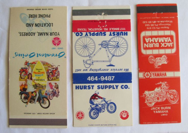 7 DIFF YAMAHA MOTORCYCLE, DEALERS, ETC. UNSTRUCK MATCHCOVERS