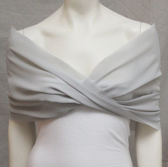 Silver Grey Shrug Bolero Chiffon Bride Bridal Capelet Bridal Stole Bridesmaid Wrap Wedding on Etsy, £27.25