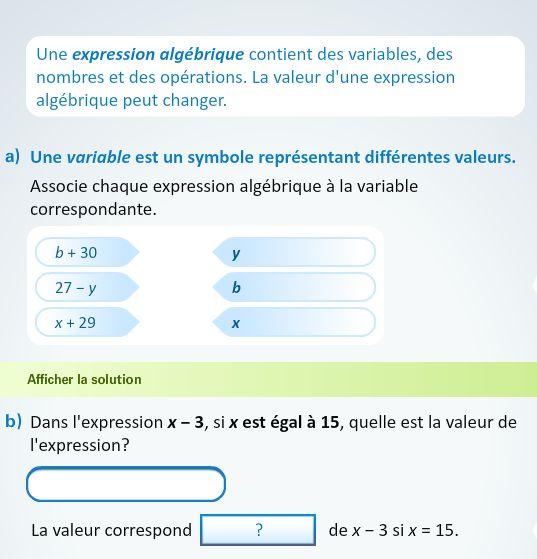 12x + 6y − 7x + 3y − x(x + 86) = ouf… Avant de résoudre ou d'écrire des expressions algébriques complexes, commençons par les décomposer afin de démystifier ce concept si abstrait pour plusieurs avec l'activité Définir les outils utilisés en algèbre.