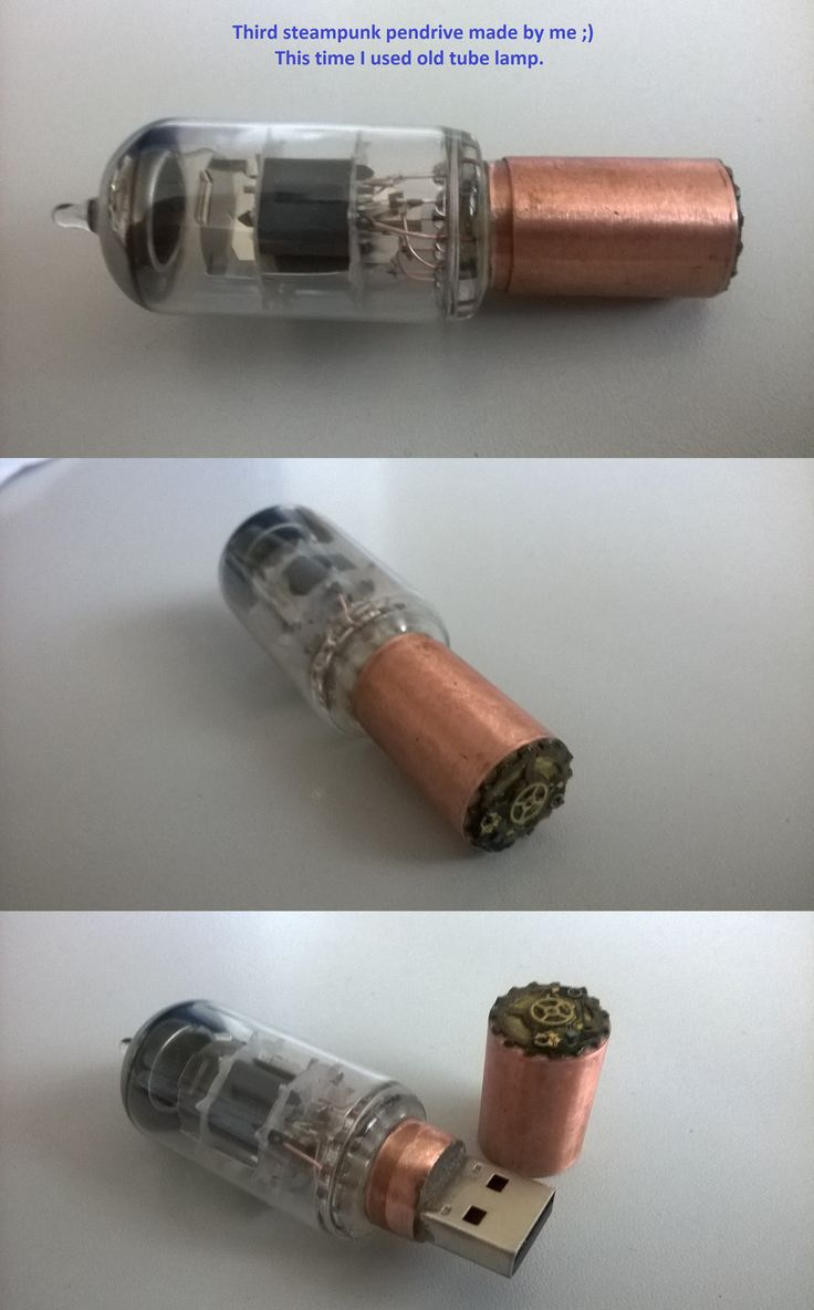 Third steampunk pendrive made by me ;) This time I used old tube lamp.