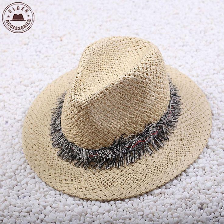 Ulgen дизайн модный мужской мягкая фетровая шляпа бандитский cap пляж вс соломы…