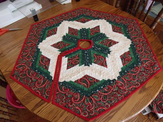Items Similar To Diamond Log Cabin Quilted Tree Skirt On Etsy