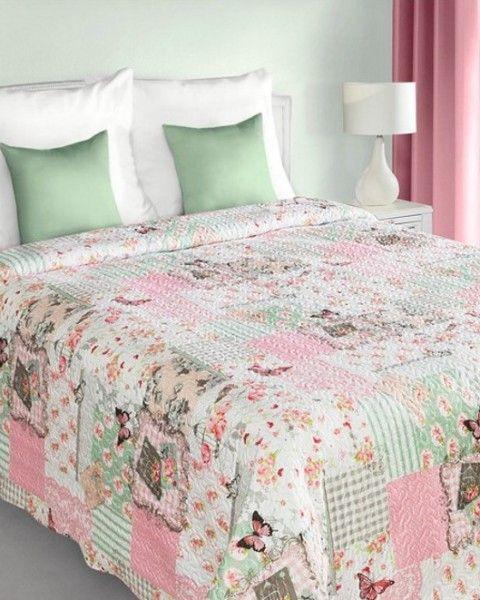 patchwork-prehoz-v-bielo-ruzovo-zelenej-farbe-s-prirodnym-vzorom