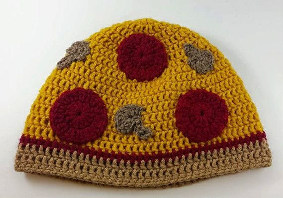 Pizza Hat Crochet Pizza Hat Food Hat by FromtheMindofShawna