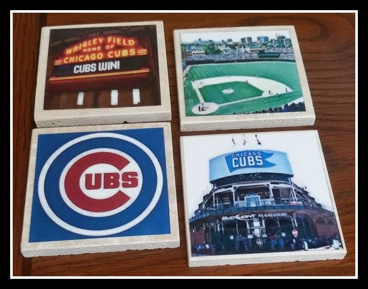 Chicago Cubs Baseball Coasters set of 4 Travertine,Decorative Picture Tiles,Gift Boyfriend,Husband,ManCave,A Handmade Art Sport Coasters 4x4 by TSHeartsDesire374 on Etsy