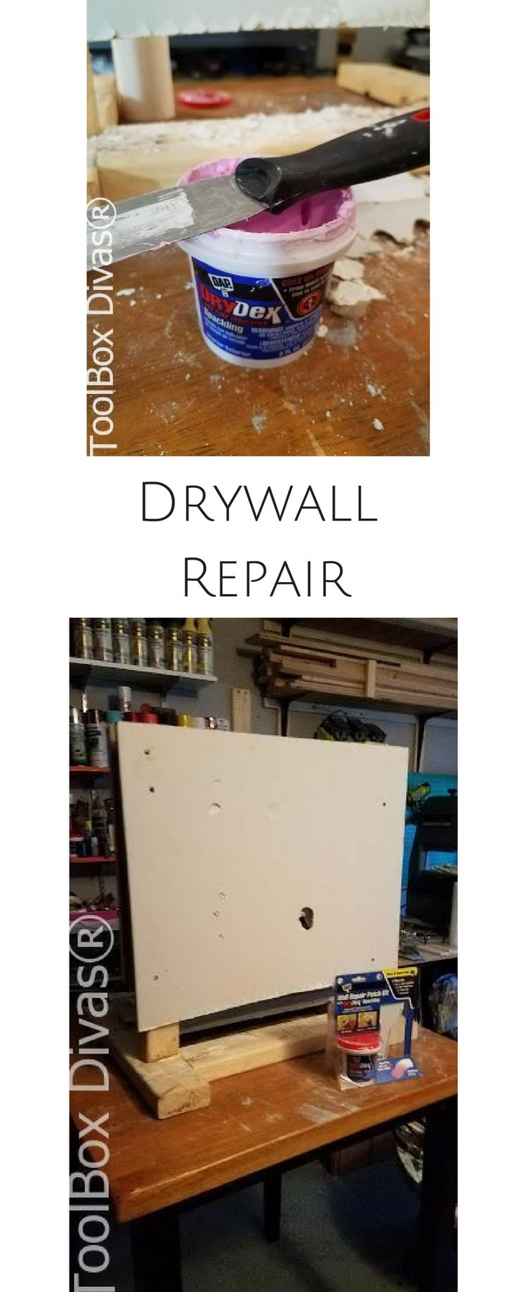 Easy Drywall repair. Repair a hole, big or small with this how to tutorial.  How to fix a hole in the wall.  #Homemaintenance #drywall #drywallrepair #Putty @ToolboxDivas
