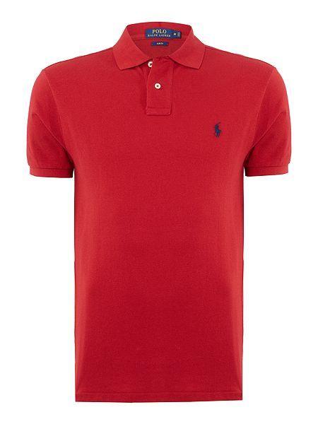 d6a5339dbe Polo Ralph Lauren Slim Fit Basic Mesh Polo - Red Mens Polo Ralph Lauren Polo  Shirts