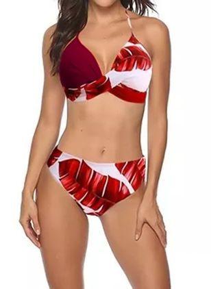 Costume da bagno bikini floreale allacciato al collo – Rosso XXL