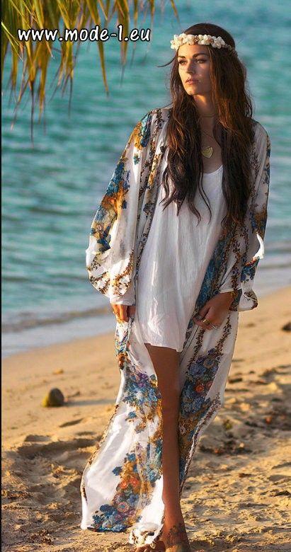 Boho Print Strand Tunika Kimono mit Ärmel