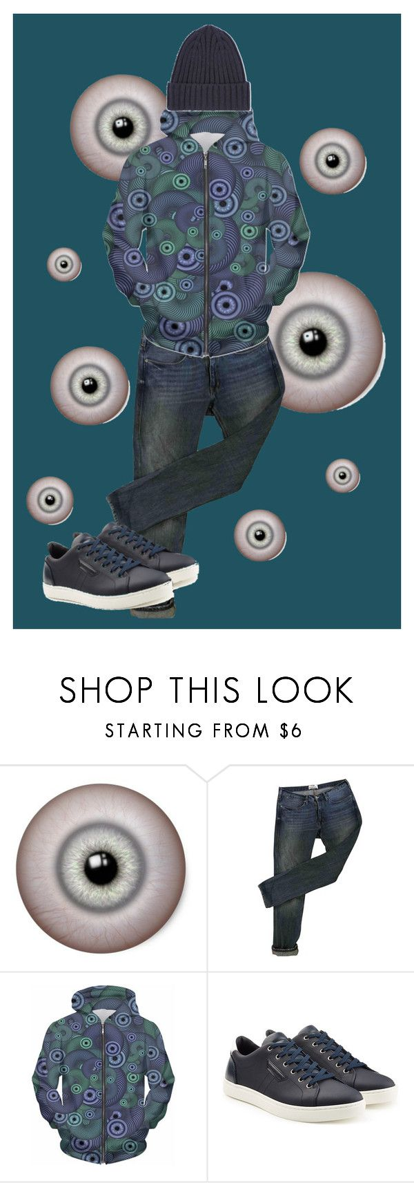 """""""Eyeball Skinky Hoodie"""" by helen-designs ❤ liked on Polyvore featuring Acne Studios, Dolce&Gabbana, Uniqlo, men's fashion and menswear"""