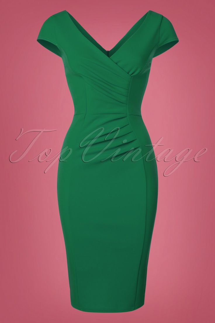 Always wanted a classic dress? This 50s Brenda Pencil Dress in Emerald Greenis everything you need! A day at the office, a night out with the girls or a fancy party, Brenda is super versatile! The beautiful wrap top features flattering pleated cap sleeves, an elegant V-neckline, V-back and ruches at the waist that will smartly camouflage any tummy flaws. Made from a lovely supple, stretchy, emerald green fabricthat hugs your curves without marking any problem areas.&n...