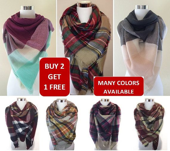 Plaid blanket scarf Tartan plaid scarf Zara by CutieChicBoutique