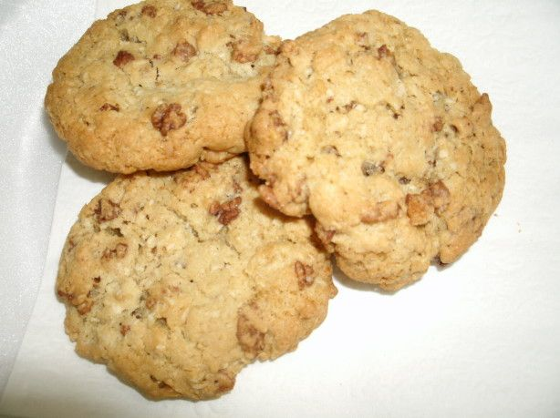 Great tasting cookie recipe that Ive made since I was able to bake. Nice combination with the oatmeal, coconut, and Rice Krispies.