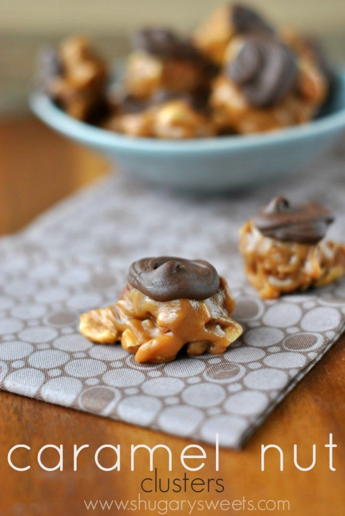 Caramel Nut Clusters: easy, delicious caramel, almond, peanut, pecan and…