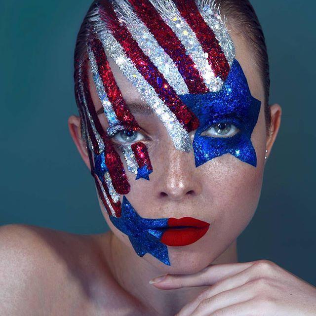 4th of July makeup using Mehron Makeup
