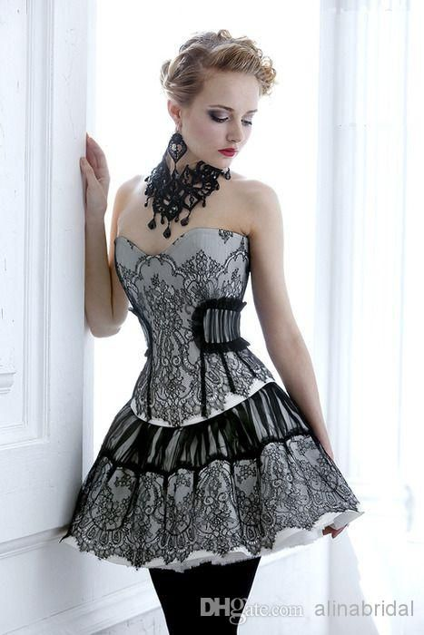 Sexy Bodice Black Lace Gothic Prom Corset Dresses Southern Belle Victorian Homecoming Dress A-line Short Mini Hallowood Cocktail Party Dress Online with $126.6/Piece on Alinabridal's Store | DHgate.com