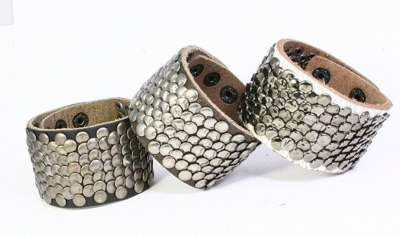 Studded Leather Bracelet Leather Cuff with Round by TrueHeartStyle