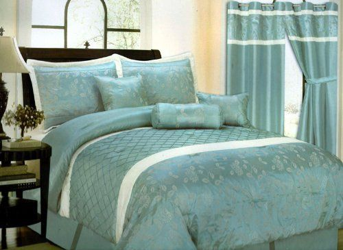 7 Piece Bed In A Bag Cornelia Aqua Blue White Faux Silk