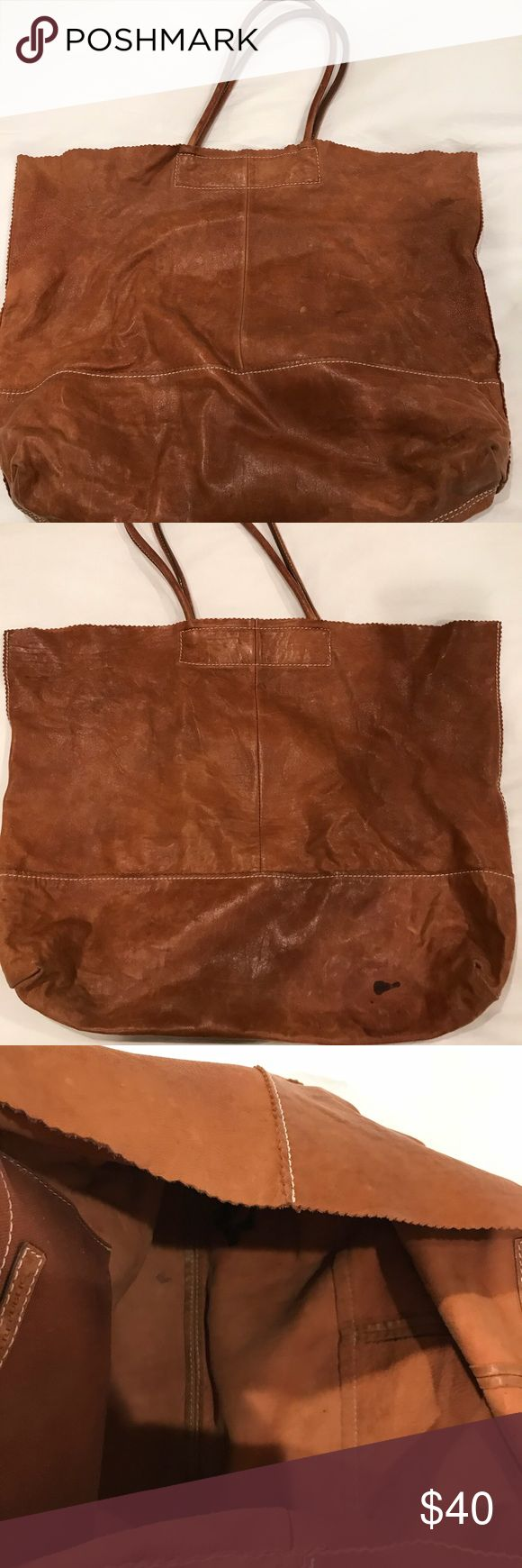Banana Republic Brown Leather Tote Bag Chestnut brown leather with long flexible handles- inside pocket - magnetic closure - very lightweight and easy to carry - flaws as noted Banana Republic Bags Totes