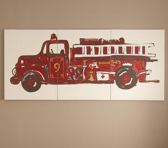 Fire Truck Triptych Art Set Of 3 Pottery Barn Kids But No Longer Available House Nursery Trucks Room