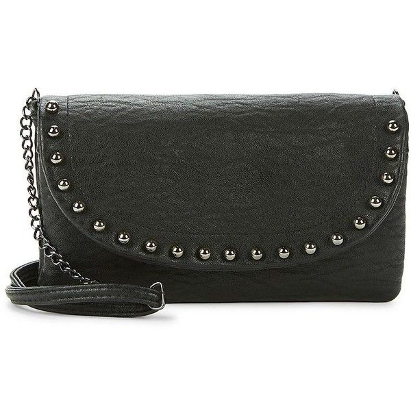 Jessica Simpson Camile Studded Faux Leather Crossbody ($58) ❤ liked on Polyvore featuring bags, handbags, shoulder bags, floral, studded crossbody purse, cross-body handbag, faux leather shoulder bag, studded shoulder bag and vegan shoulder bags