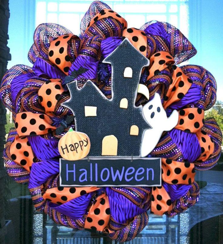 trendy tree blog showcasing beautiful creations by becky at dzinerdoorz beautiful handcrafted wreaths halloween door wreathshalloween decorationshalloween