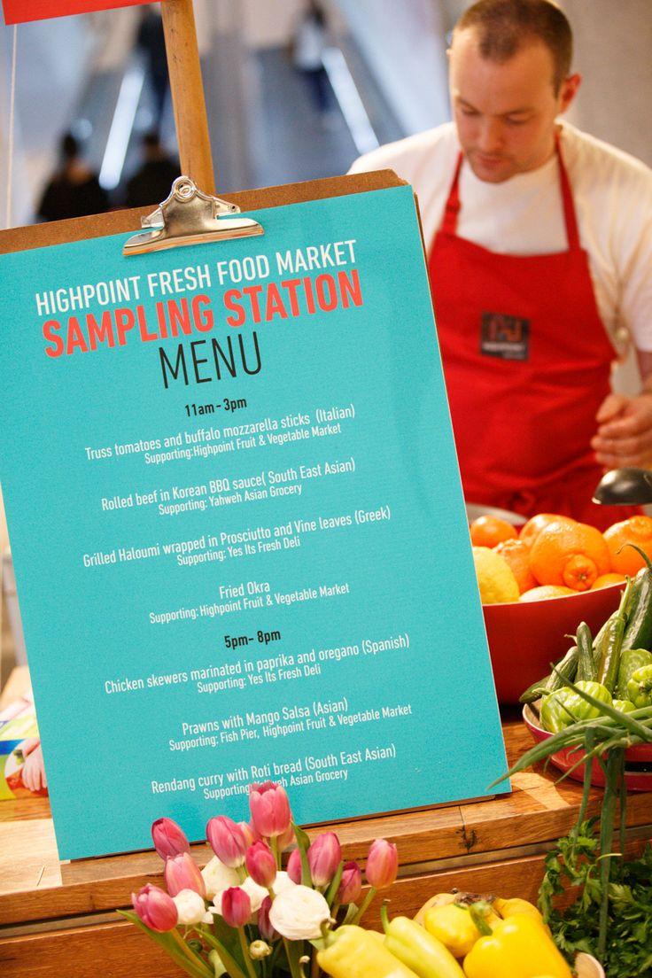 Menu at Highpoint food sampling station