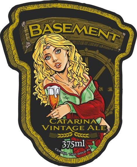 Cerveja Basement Catarina Vintage Ale, estilo Wood Aged Beer, produzida por Basement Cervejas Especiais, Brasil. 8% ABV de álcool.