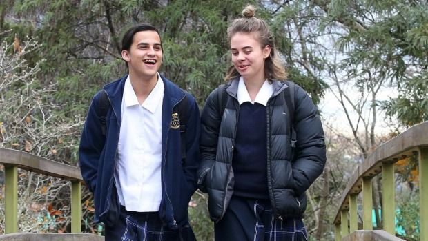 Year 12 student Stefani Muollo-Gray, left, has the support of other students, including Michaela Waite-Harvey, to use ...