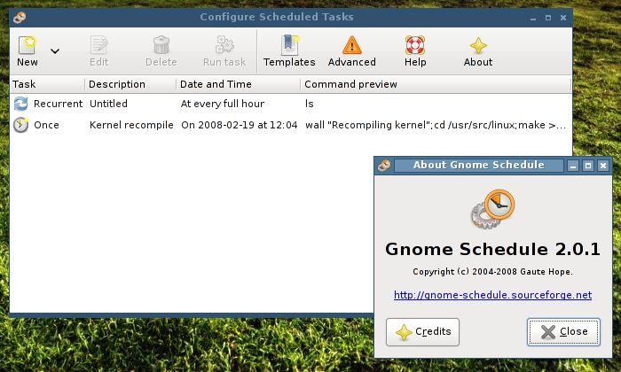 gnome schedule screenshot