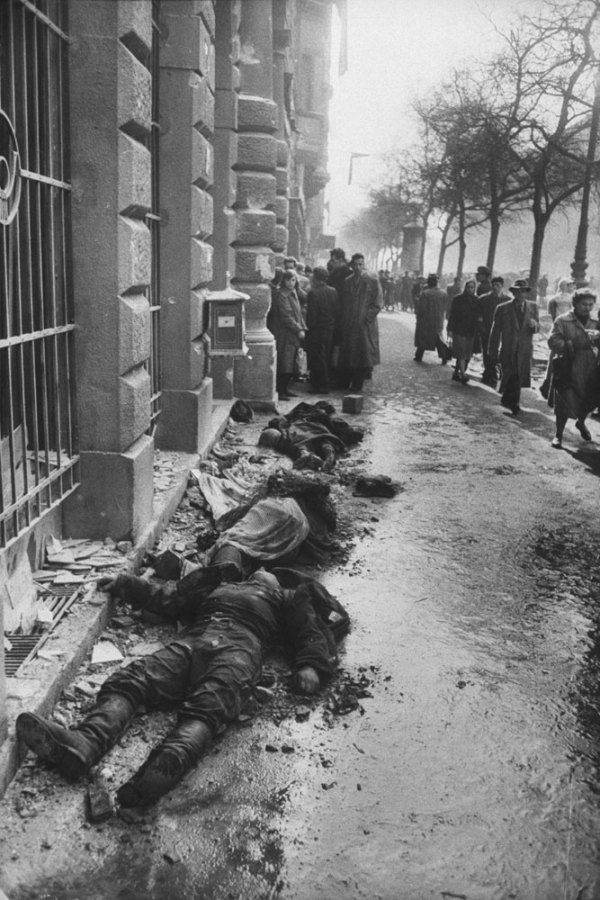 Death and destruction in the streets of Budapest, 1956.