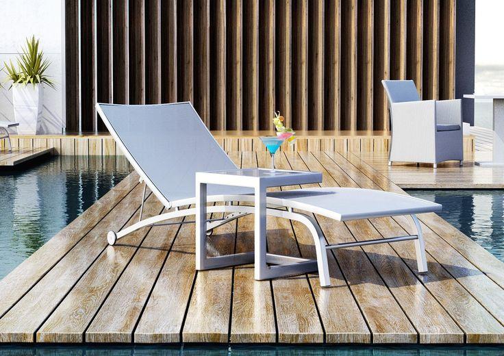 Leżanka ogrodowa SEVILLA ze stolikiem - prod. Zumm Garden Furniture (meble ogrodowe aluminium, meble z aluminium, nowoczesne meble ogrodowe, ekskluzywne meble ogrodowe aluminium, zestawy ogrodowe z aluminium, meble tarasowe, stół ogrodowy, fotele ogrodowe, krzesła ogrodowe, meble tekowe, meble teak, teakowe meble ogrodowe, zestawy mebli z aluminium, zestaw mebli ogrodowych teak, Garden Space)