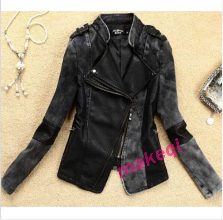 Women Faux Leather Jacket Zipper Combat Clothing Biker Motor Jackets Coat Us