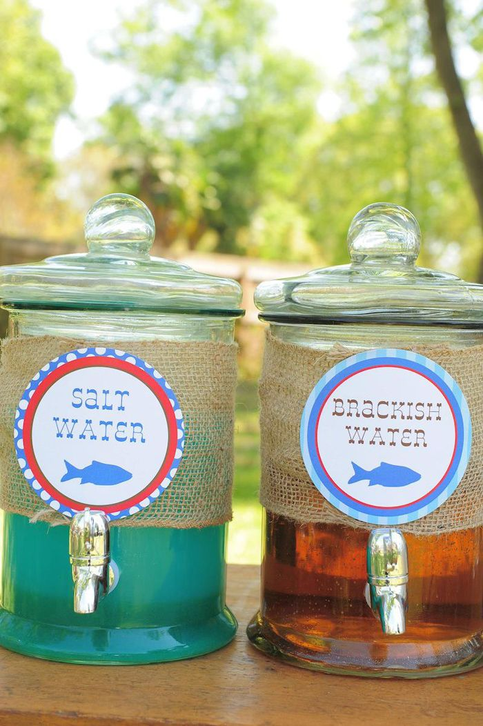 Love this drink idea at a FISHING PARTY! Found via Kara's Party Ideas. Ocean water (blue drink) and River water (sweet tea)